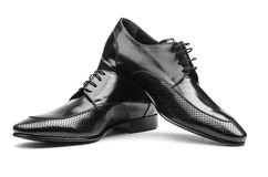 Pair of male shoes. On the white Stock Image