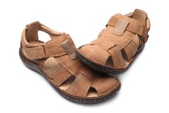 Pair of male summer sandals. On white background Stock Images