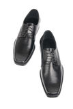 Pair of man's black shoes. Isolated on white background Stock Image