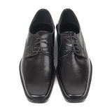 Pair of man's black shoes. Isolated on white background Stock Photos