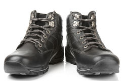 Pair of man's warm leather shoes Royalty Free Stock Photos