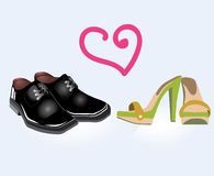 Pair of man and woman shoes. And heart, vector Royalty Free Stock Images