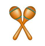 Pair of maracas. In brown design isolated on white background Royalty Free Stock Images