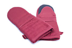 Pair of maroon oven mitts. On white background Stock Photography