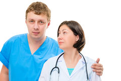A pair of medical colleagues on a white background Stock Photos