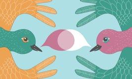 Pair of Meeting Birds vector illustration
