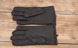 Pair of men's black leather gloves Royalty Free Stock Image