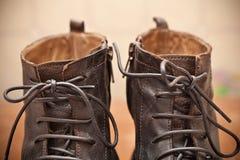 Pair of men's fashion shoes. Tying closeup. Stock Photo