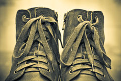 Pair of men's fashion shoes. Tying closeup. Vintage style. lacing close up Stock Photography