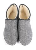 Pair of men's grey slippers on white background. Stock Photography
