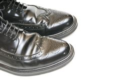 Pair of mens black leather shoes Royalty Free Stock Image