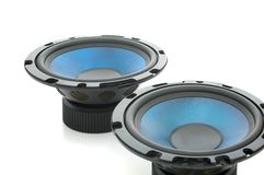 Pair of mighty audio speakers Royalty Free Stock Image