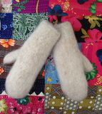 A pair of mittens. On a bright textile background Stock Image