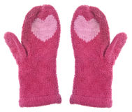 Pair of Mittens with Hearts Royalty Free Stock Photography
