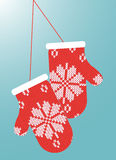 Pair of mittens with snow ornament. Illustration Stock Images