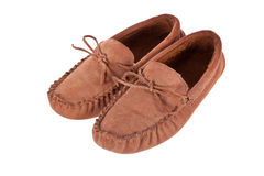 Pair of moccasin slippers isolated Stock Images