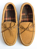 Pair of Moccasin Slippers Top View Closeup. Pair of Moccasin Slippers Top from View Closeup royalty free stock image