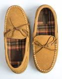 Pair of Moccasin Slippers Top View Flipped Stock Photography