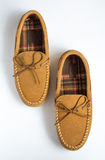 Pair of Moccasin Slippers Top View Staggered royalty free stock photo