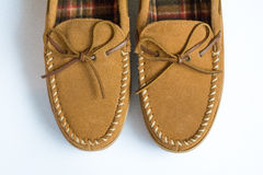 Pair of Moccasins Slippers Top View Closeup stock photography