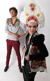 Pair models in exclusive design clothes Royalty Free Stock Photography
