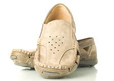 Pair of modern beige moccasins Royalty Free Stock Photography