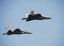 Pair of modern jetfighters Royalty Free Stock Photography