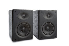 Pair of modern music speakers isolated Stock Image