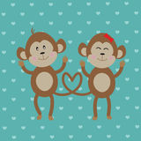 Pair of monkeys in love on blue vintage background. Vector. Royalty Free Stock Image