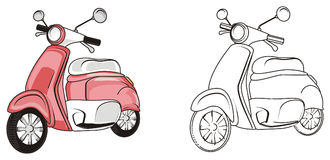 Pair of mopeds. Pink moped stand with not colored moped Royalty Free Stock Photos