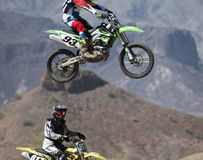 A Pair of Motocross Racers Practice at SARA Park Stock Image