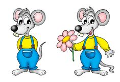 Pair of mouses. Color illustration Stock Photos