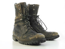 Pair of Muddy Combat Boots Royalty Free Stock Photo
