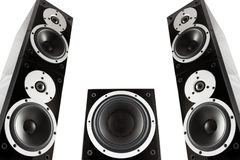 Pair of music speakers and subwoofer Royalty Free Stock Images