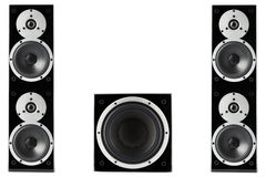 Pair of music speakers and subwoofer Stock Images