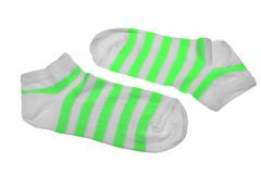 Pair Neon Green  And White Striped Ladies Socks Royalty Free Stock Photos