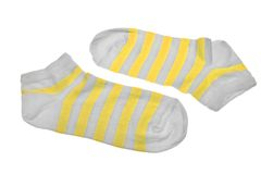 Pair Neon Yellow  And White Striped Ladies Socks Stock Photography