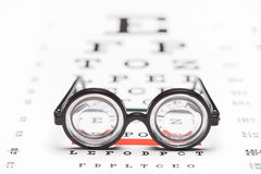 Pair of nerdy glasses on an eye chart Stock Photos