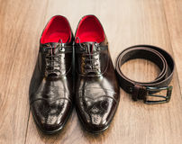 Pair of new black man shoes Royalty Free Stock Photo