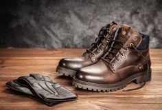 Pair of new boots Stock Photo