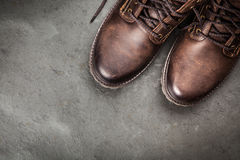 Pair of new boots. Pair of new leather boots royalty free stock photos
