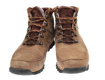 A pair of new boots on white background. Royalty Free Stock Photo