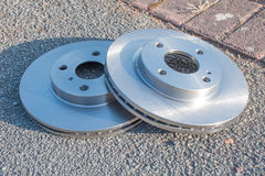 Pair of new car Brake Disks Royalty Free Stock Photos