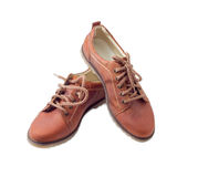 Pair of new leather brown mens shoes Stock Photos