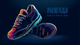 Pair of new sport running shoes. Banner in a digital painting stock illustration