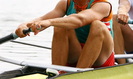 Pair-oar rowing men Stock Image