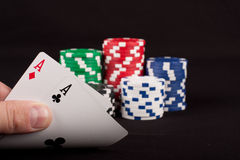 Pair Of Aces And Poker Chips Stock Photography