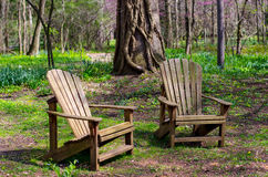 Pair Of Adirondack Chairs In The Woods Royalty Free Stock Photos