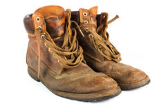 Free Pair Of Brown Leather Work Boots On White Royalty Free Stock Photography - 26362397