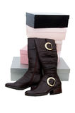 Pair Of Brown Winter Woman Boots And Many Boxes Stock Photos